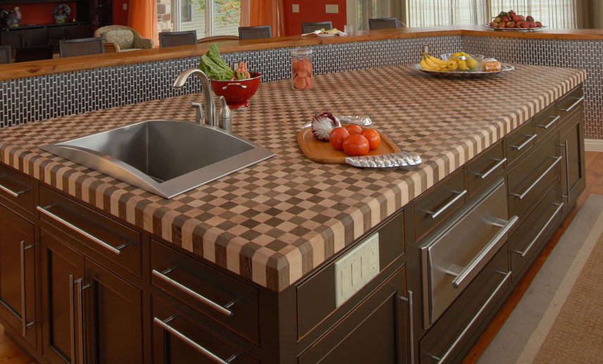 Wood checker pattern counter top