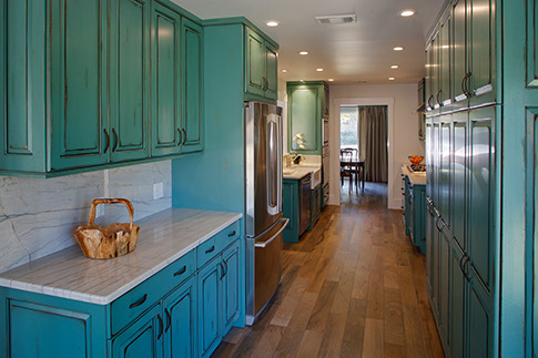 aqua color kitchen
