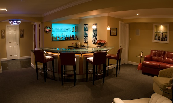Basement glass top bar