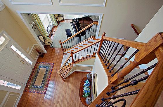 Wooden Stair case with iron baluster