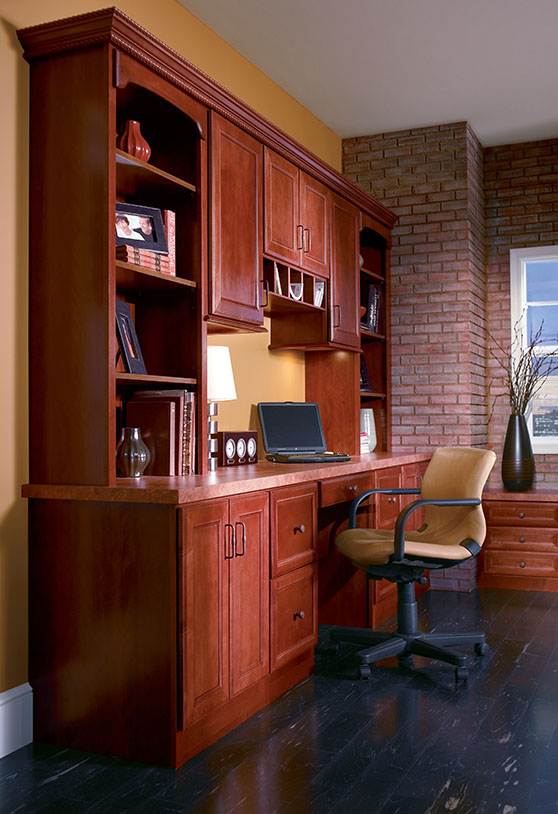 Red wooden office cabinets