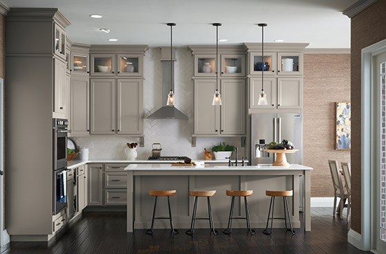 Modern dark taupe kitchen with bar stools