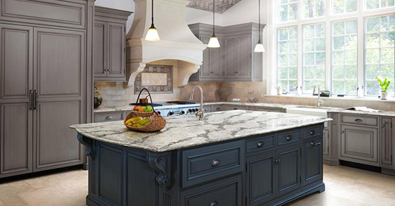 White marble counter top island
