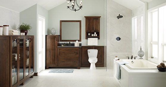Modern white bathroom with wooden vanity