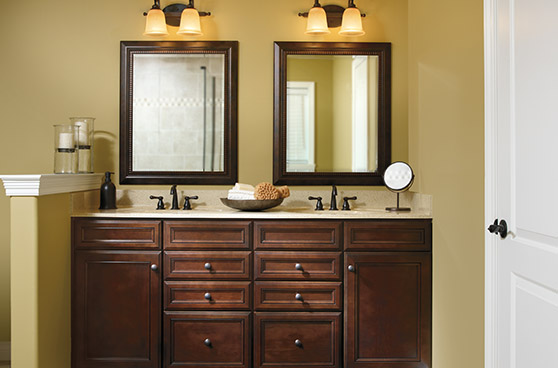 Wooden his and hers vanities