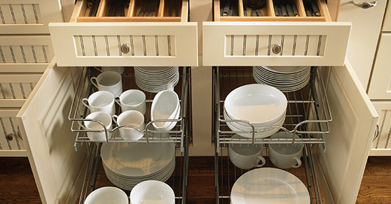 Dish pull out cabinets