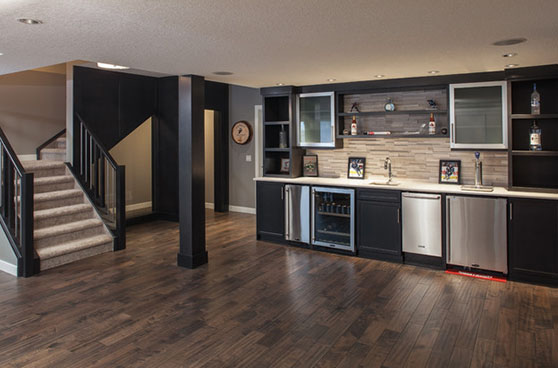 Dark toned basement
