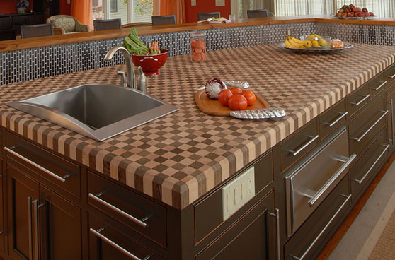 Checkered wood counter top