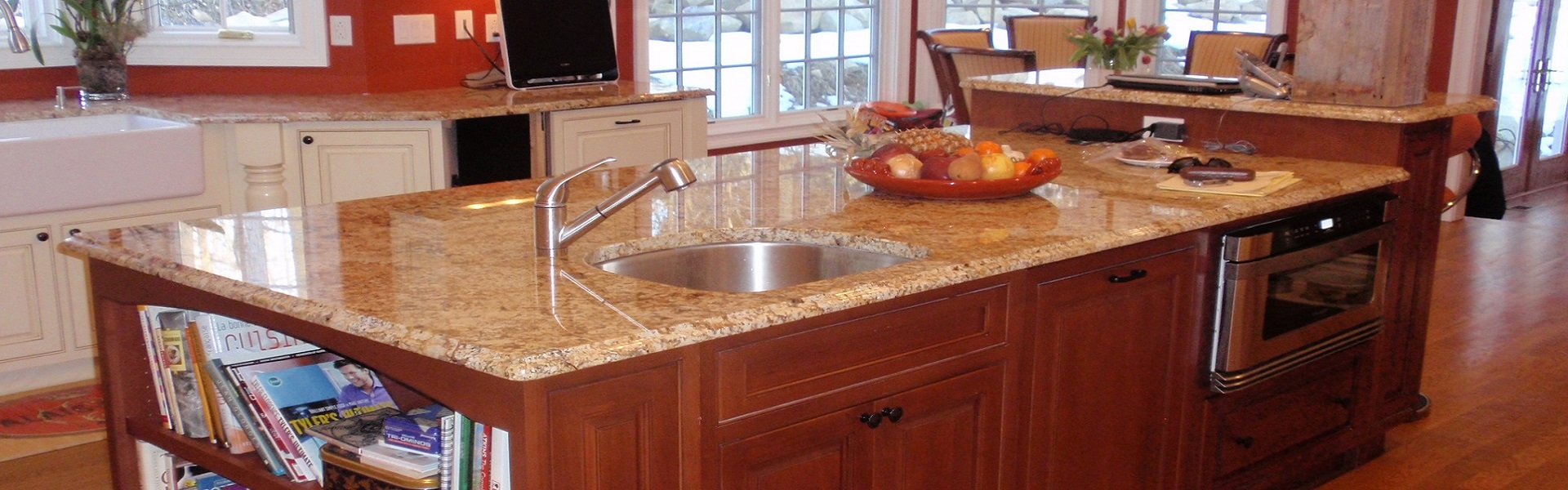 counter stone top with wash sink