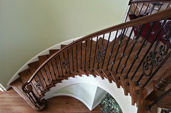 Large curved stair case