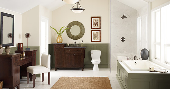 White and green modern bathroom