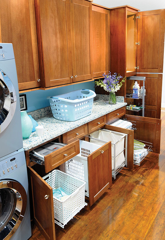 Wooden laundry room cabinets
