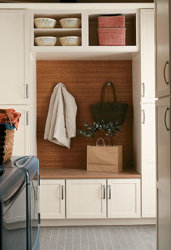 Entryway cabinets with hanging cubby-hole