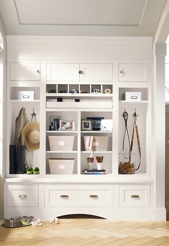 White cubby-holes surrounded by cabinets