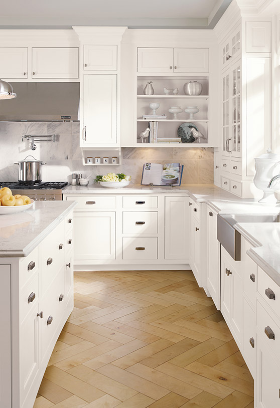 White kitchen with wood floors