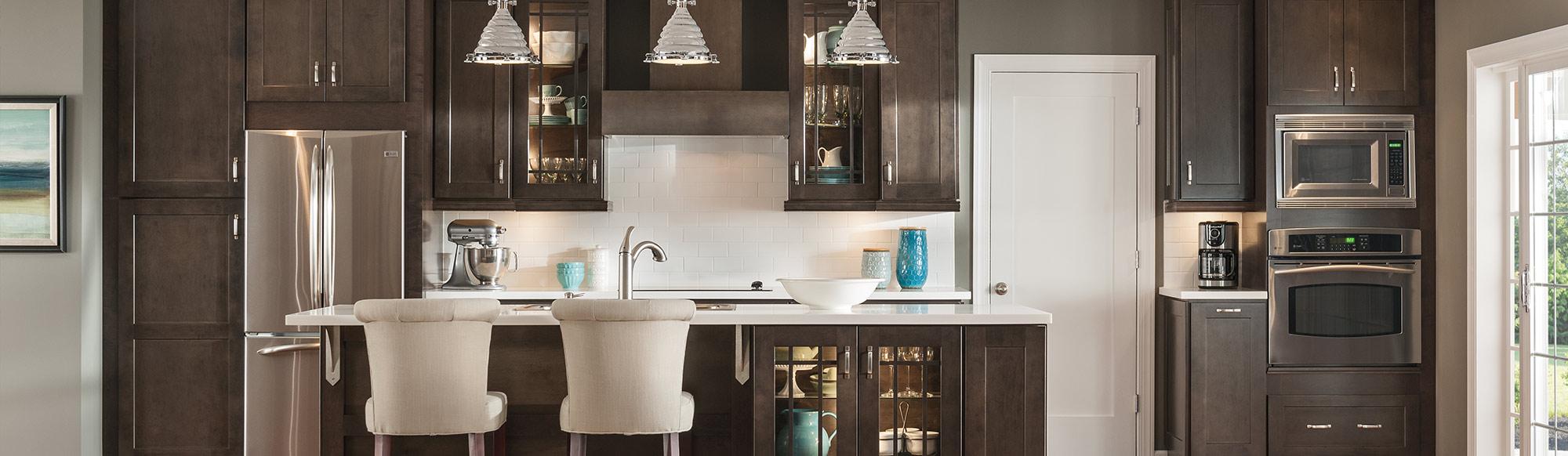 Dark wood kitchen with white accents