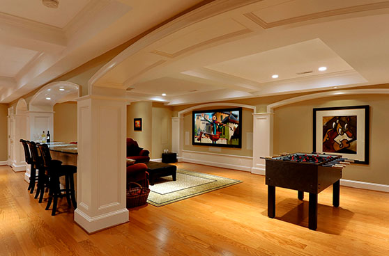 White and wood themed basement