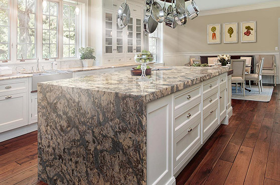 White cabinetry with marble counter top